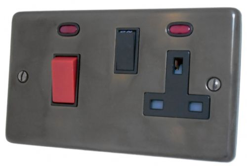G&H CAN29B Standard Plate Polished Aged Brass 45 Amp DP Cooker Switch & 13A Switched Socket